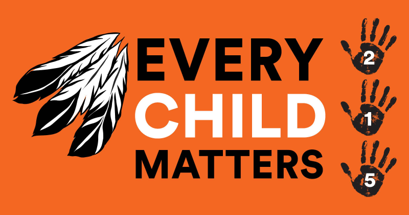 Feathers and handprints on an orange background with the text EVERY CHILD MATTERS and 215