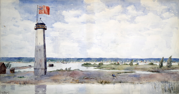 Painting of point lighthouse with large flag featuring union jack