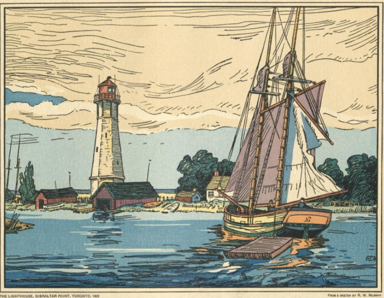 Painting of large sail boat approaching coast with lighthouse