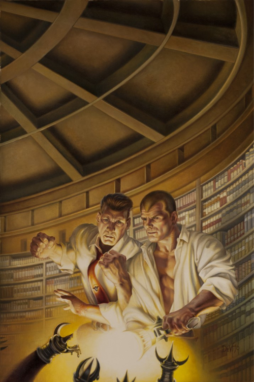 Doc Savage and Renny in Doc's Library