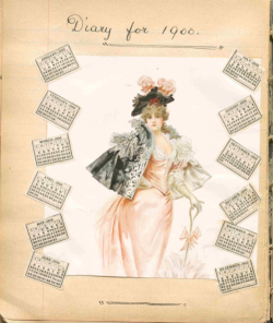 Paper with illustration of woman and title Diary for 1900 in handwriting