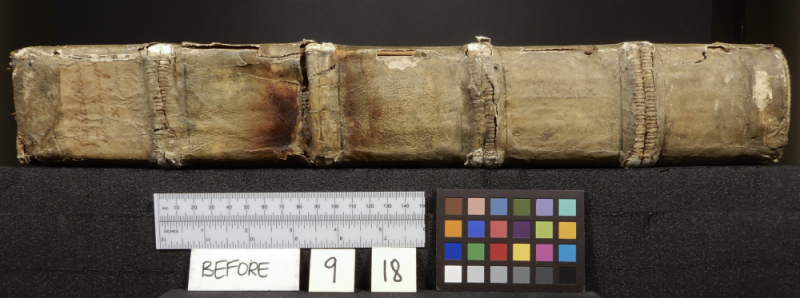 Spine of book with many tears and measurement instruments below and paper reading Before