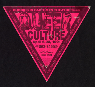 """Poster is shaped like a triangle and printed on bright pink paper. It features people posing within the letters """"QUEER""""."""