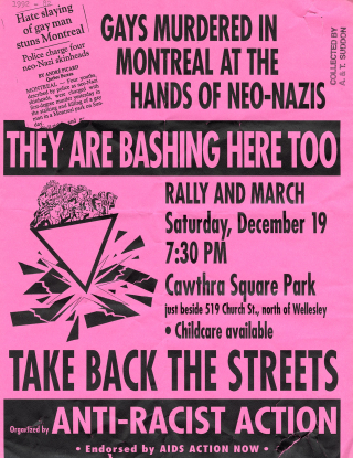 Photocopied poster on bright pink paper. An illustration shows people with raised fists atop a pink triangle which is smashing glass.