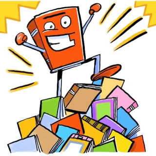 Cartoon illustration of a book wearing boxing gloves, standing atop a pile of books
