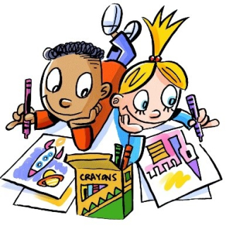Cartoon illustration of two children colouring pictures
