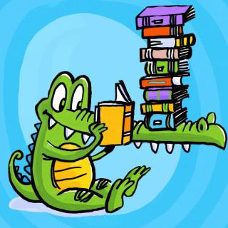 Cartoon illustration of crocodile reading a book