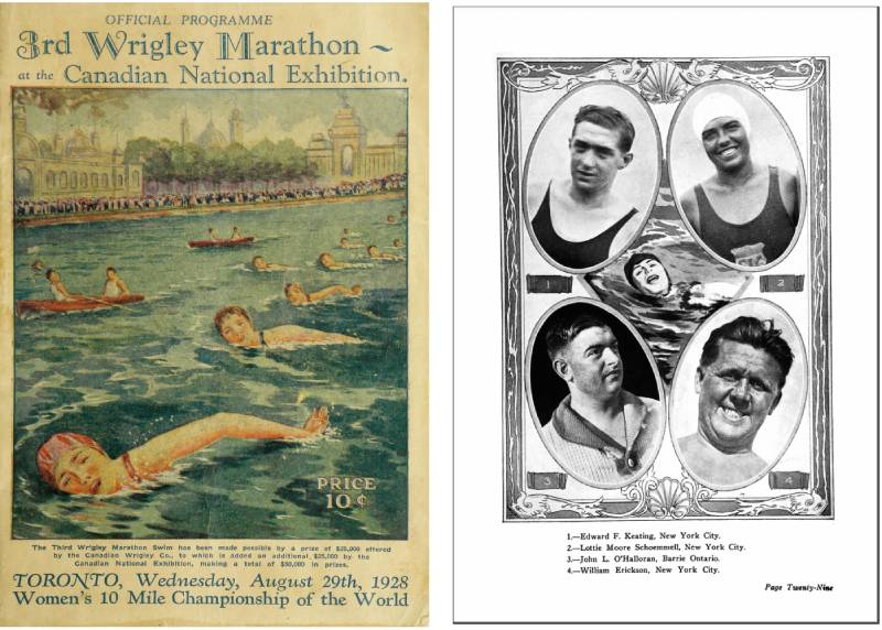 Two images, one of A painting of people swimming the front crawl in Lake Ontario and the other showing portraits of four swimmers including one listed as from Barrie Ontario