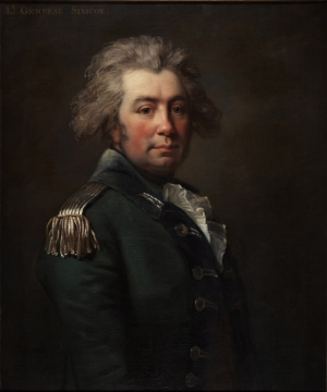 Painting of portrait of man in military outfit identified as General Simcoe