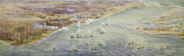 Painting of warring ships along Toronto coastline