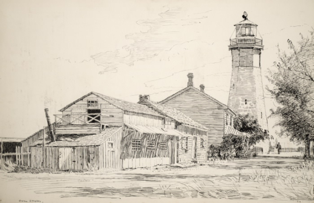 Sketch of wood house in front of lighthouse