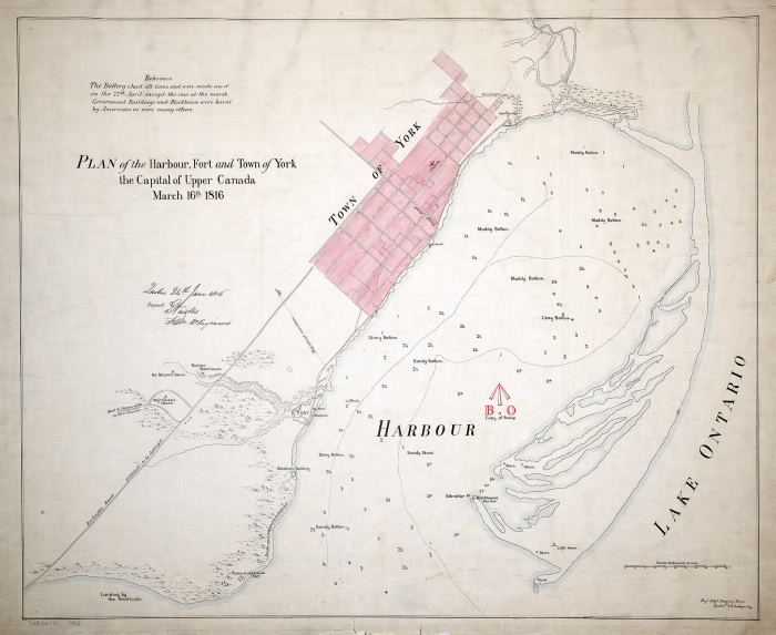 Map titled Plan of the Harbour  Fort and Town of York the Capital of Upper Canada March 16 1816