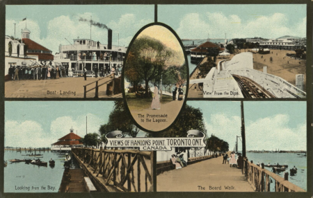 Vintage postcard divided into five panels showing different parts of a coastal location