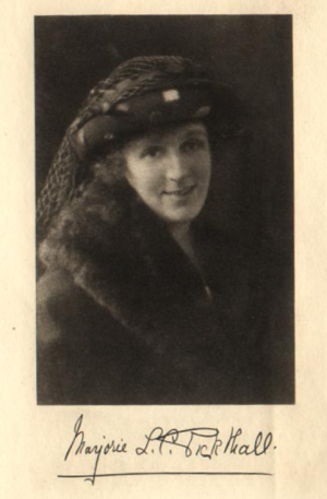 Portrait of Marjorie Pickthall with signature below