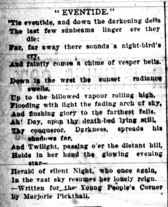 Black and white reproduction of poem in newspaper